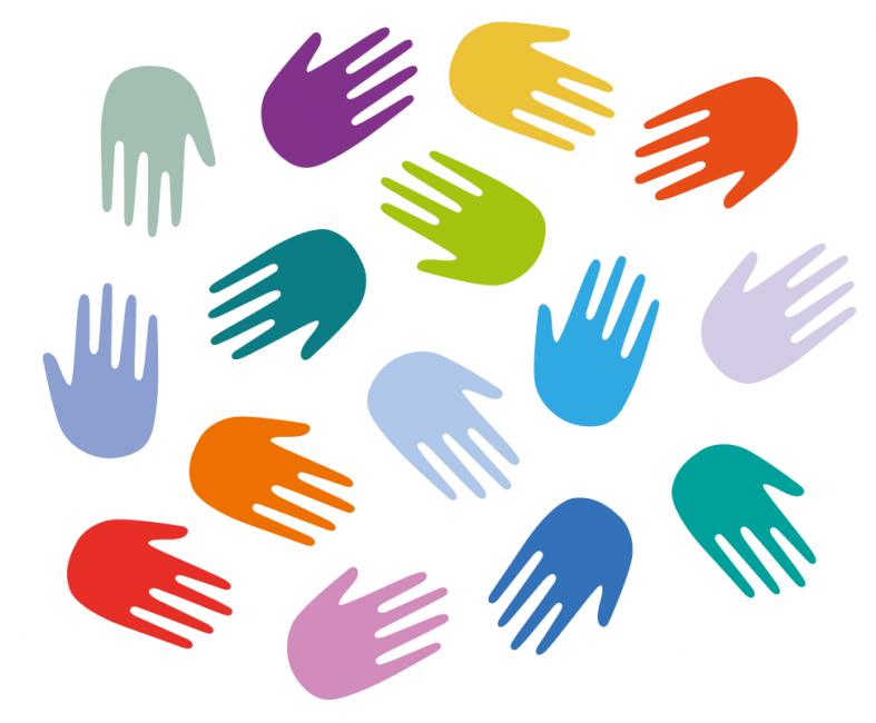 Viele bunte Hände, die Vielfalt symbolisieren.
