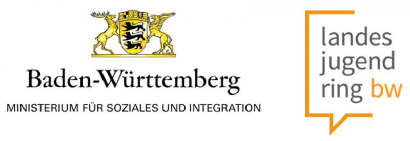 Das Logo des Ministeriums für Soziales und Integration BW, sowie das Logo des Landesjugend Rings BW.